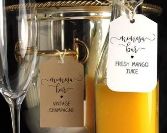 Printable Mimosa Bar Tags, Mimosa Labels, Mimosa bar printable, Bubbly bar tags, Bridal shower mimosa bottle tags, Wedding mimosa bar tags