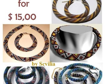 Bead crochet rope pattern for beading necklace. In some PDF several variants of patterns. As a result you get 10 patterns! PDF pattern