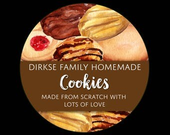 Customized Label - Homemade Cookies, Watercolor Style Label - Watercolor Cookies - Custom Bakery Labels
