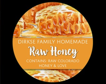 Honey Labels - Honeycomb - Watercolor Style - Raw Honey - Homegrown Honey - All Text Can be Customized
