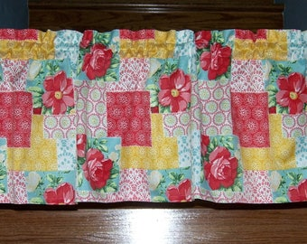 Pioneer Woman Patchwork Custom Made Kitchen Valance Cookware Utensils Tablecloth