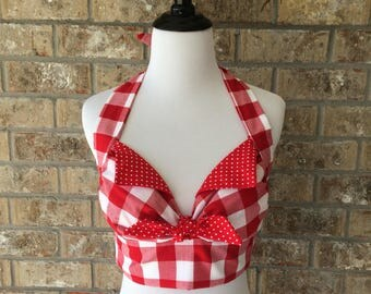 Handmade Red White Gingham Checkered 1950s Country Western Rockabilly Retro Midriff Crop Halter Top XS Small Medium Large