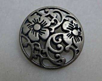 6 metal buttons - pewter - 25mm