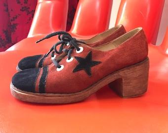Vintage 70s suede wooden platform oxfords disco shoes