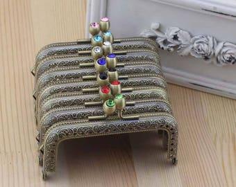 Brass Kisslock Frame Hoop w/ Coral Pearl Bead for Bag Purse, 8.5cm / 3.4 inch, 1 PCS, K26