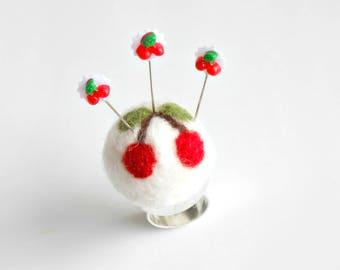 Cherry Pincushion - Pincushion ring - Pin cushion - Sewing Pins - Pin Keep - Felted Pincushion - Gift for Quilters - Silver Ring Pincushion