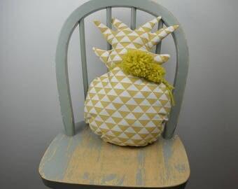 Pillow mustard tassel and pineapple