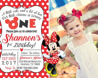 Polka-dot Minnie Mouse Birthday Invitation with Photo! Digital File. Print at Home.