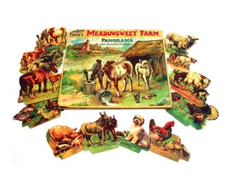 Rare Antique 1900s Father Tuck Panorama Meadowsweet Farm Animals Cow Duck Horse Concertina Story Book Toy Paper Ephemera Raphael Vintage