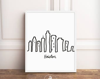 Houston, black and white, Instant Download, Minimalist, Cityscape, Texas, Houston Skyline, printable poster, digital download