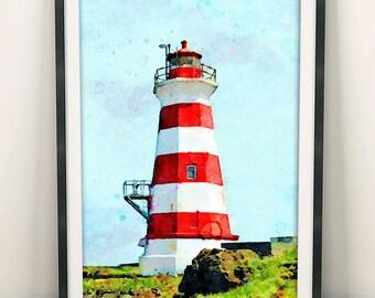 Lighthouse Painting, Lighthouse Print, Ocean Art, Lighthouse Decor, Home Decor, Wall Art Decor, Modern Art, Marine, Coastal Wall Art (N412)
