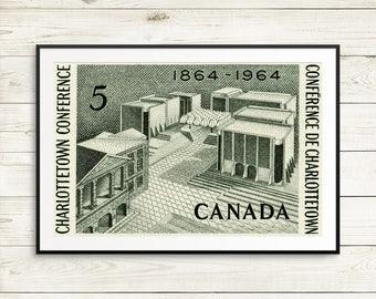 P073 Charlottetown, Charlottetown PEI, Charlottetown Conference, PEI Canada, Prince Edward Island, PEI History, Charlottetown Print, Canada