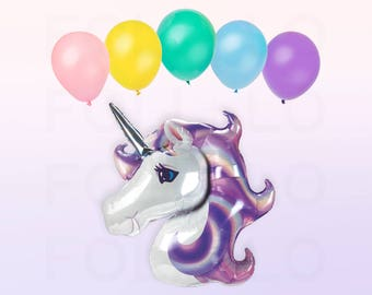 Iridescent UNICORN Balloon | HUGE Unicorn Balloon | Unicorn Party Theme | Unicorn Balloon Decoration | Balloon Tassel Tail