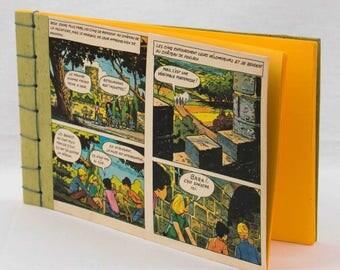 carnet vintage, illustration le club des cinq, reliure japonaise, vert, jaune, fait main, made in France, collage, livre enfant, page jaune