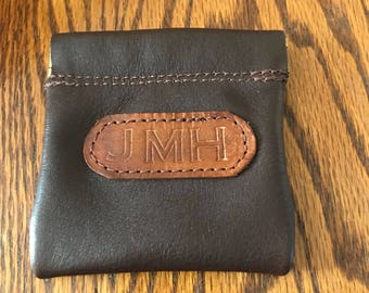 Leather Coin Purse / Squeeze Frame Pouch - Personalized - Free Shipping - Amish Handmade - Made in USA