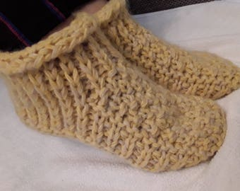 Yellow   hand knit socks,mohair and sheep wool thick bed socks, durable bed slippers.Bed slippers, Thick wool bed socks.
