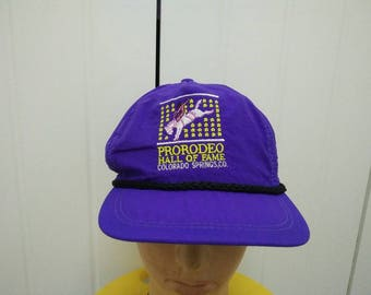 Rare Vintage PRORODEO Hall Of Fame Colorado Springs,CO Cap Hat Free size fit all Made in USA