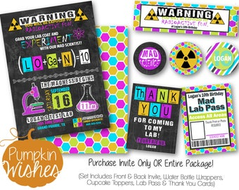 Mad Scientist Party/Mad Scientist Invitations/Mad Scientist Birthday/Science Birthday/Radioactive Party/GIRL Birthday - PRINTABLES