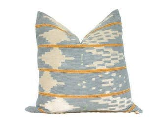 22x22 Blue and Orange Mudcloth Pillow, Blue and Orange Stripe Pillow Cover, Ikat Pillow, African Mudcloth, Blue Stripe Pillow,