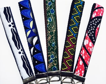 African Print Keychains // Printed Key Fobs // Colorful Keychain