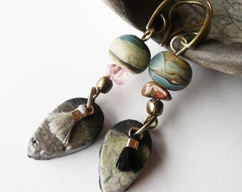 """Landscape"", glass and ceramic jewelry earrings unique, handcrafted Bohemian"