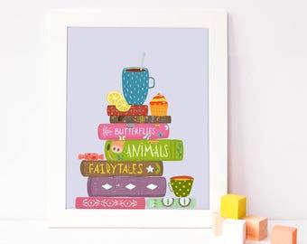 book poster - book print - printable nursery - playroom decor - playroom art printable - nursery reading wall art - nursery digital print