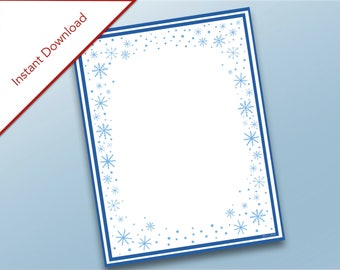 Blank Snowflake Stationary, Holidays Printable, Christmas Letter Stationary, Snowflakes, Christmas Invitations, Holiday Party
