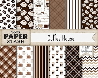 Coffee Scrapbook Papers, Cup of Joe, Coffee Digital Papers, Coffee Been Background, Latte, Mocha, Coffee Cup, Cafe Patterns, Commercial Use