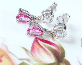 Earrings, Sparkling Pink And White Topaz Gemstone Sterling Silver Earrings, Vintage Style Drop Earrings, Sparkling Earrings, Gift For Her.