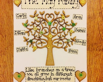 Handmade Personalised Family Tree - 25cm x 20cm