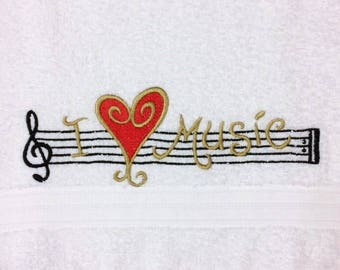 Embroidered Hand Towel - I Love Music