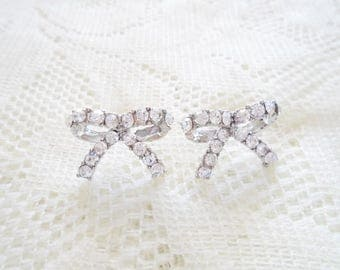 Silver & Crystal Bow Stud earring, Bow stud earring