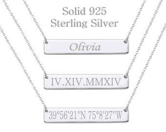 925 Sterling Silver Roman Numeral Necklace, Date Necklace, Wedding Date Necklace, Custom Date Necklace, Bar Necklace, bridesmaid gift