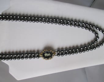 black pearl like beads two strand 24 1/2 inch necklace with detachable cameo pin clasp