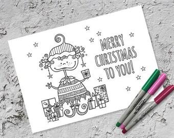 Merry Christmas Elf Colouring Page - Digital Download - Original Doodle Design