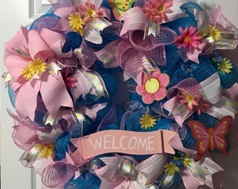 Spring Wreath, Welcome Wreath, Blue and Pink Mesh Wreath, Everyday Mesh Wreath