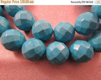ON SALE 15% OFF Magnesite Turquoise Faceted Round 19mm Beads 20pcs