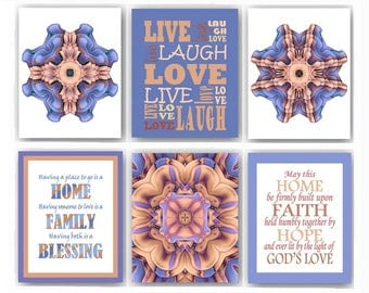 Brown Blue Rustic Home Decor Gray Mandala Wall Art Live Love Laugh Cottage Gallery