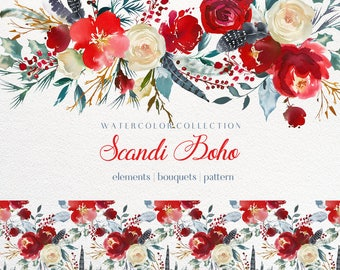 Christmas Watercolor Clipart  Scarlett  Red Flowers Blue Gray Leaves Bouquets  Digital Floral Drop Holly Steams Berries Boho Scandi Wedding