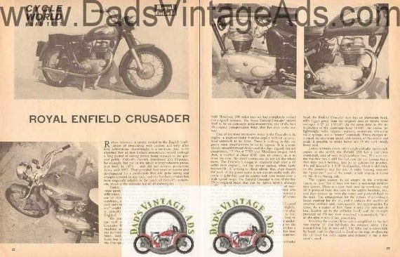 1964 Royal Enfield Crusader Motorcycle Road Test 4-Page Article #bv6403a23