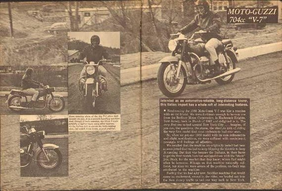 1968 Moto Guzzi 704 cc V-7 Motorcycle Test 6-Page Photo Article #ncb01