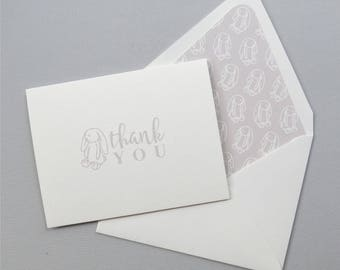 Grey Bunny Thank You Cards - Children's Thank You Card - Bunny Rabbit Love - Grey Bunny Stationery