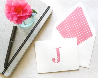 Personal Stationery with Monogram - Polka Dot Notecards - Personal Note Cards - Set of 10 - Pink and White Polka Dot