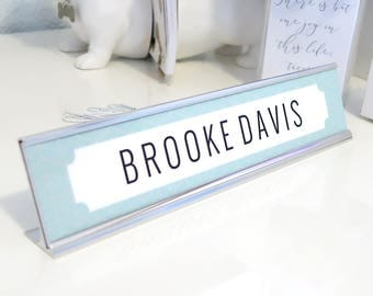 "Custom Herringbone Nameplate ""Brooke"" - Personalized Desk Name Plate Sign Decor - Office Accessories - Modern Office Cubicle"