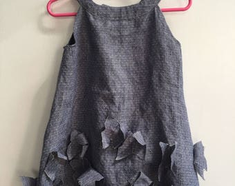 Brigitte Dress: Up-Cycled Toddler Dress with Butterfly Appliques