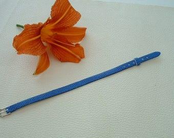 Navy faux leather lizard blue bracelet 22cm width 8 mm