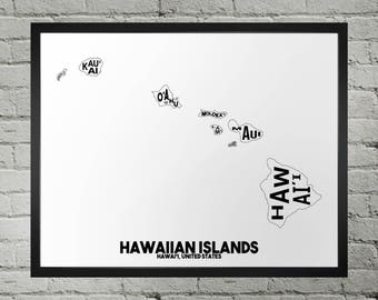 Hawaiian Islands Typography Map Print
