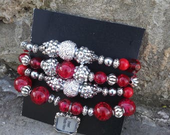 Red and Silver Bracelets with Frame Charm