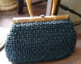 Italian beaded raffia purse