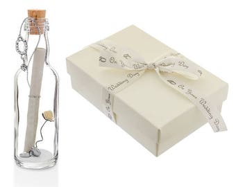 Unique Wedding Day Gift for your Bride or Groom | Personalised Message in a Bottle with Gift Box